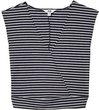 BB Dakota Striped Knit Wrap Top (Navy) Women's Clothing