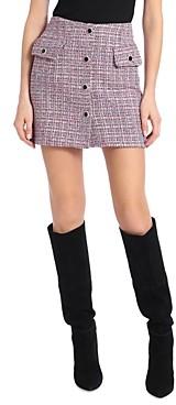 AVEC LES FILLES Tweed Button Front Mini Skirt