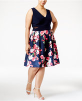 Xscape Evenings Plus Size Illusion Floral-Print Fit & Flare Dress