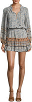 MISA Los Angeles Lorena Long-Sleeve Mini Dress, Multipattern