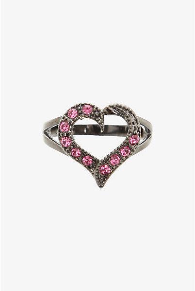Torrid Hematite & Pink Open Heart Ring