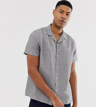 Asos Design DESIGN Tall oversized linen shirt with revere collar in gray