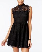 Speechless Juniors' Mock-Neck Lace Dress