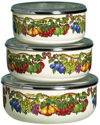 Tabletops Unlimited Kensington Garden Porcelain Enamel Set of 3 Covered Mixing Bowls