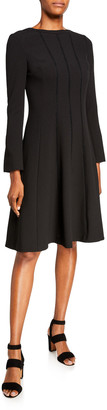 Rickie Freeman For Teri Jon Jewel Neck Long-Sleeve Stitched Crepe Dress