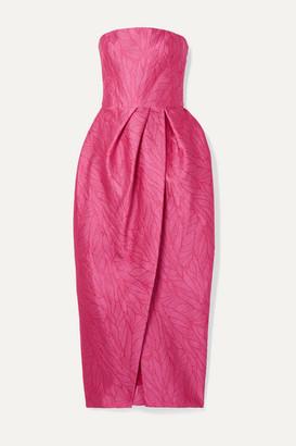 Monique Lhuillier Strapless Jacquard Midi Dress - Pink