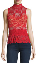 Nightcap Clothing Lace Peplum Sleeveless Top, Scarlett