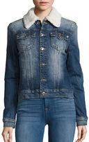 True Religion Western Dusty Faux Shearling Collar Denim Jacket
