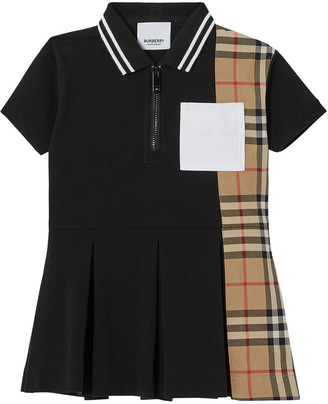 Burberry Girl's Serena Vintage Check Logo Polo Dress, Size 6M-2