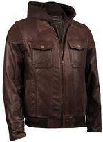 Black Rivet Mens Jumble Hooded Leather Bomber