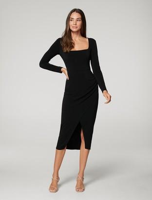Forever New Gilda Square-Neck Wrap Dress - Black - 10