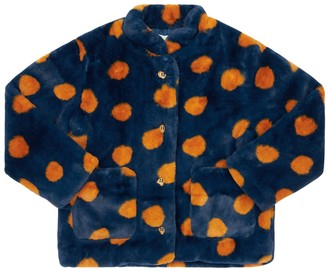 Bobo Choses Dot Print Faux Fur Jacket