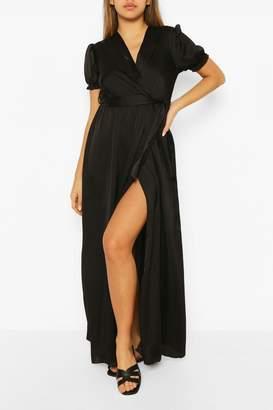 boohoo Wrap Puff Sleeve Maxi Dress