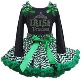Ameda Girls St Patrick's Day Green Chevron Pettiskirt Rhinestone Irish Princess Tee Set