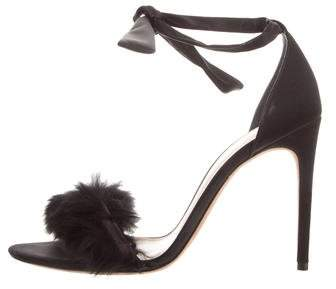 Alexandre Birman Feather-Trimmed Sandals