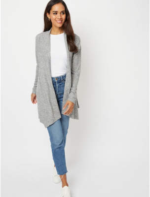 Bell George Grey Soft Touch Embellished Open Front Cardigan