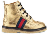 Gucci Toddler leather brogue boot with Web