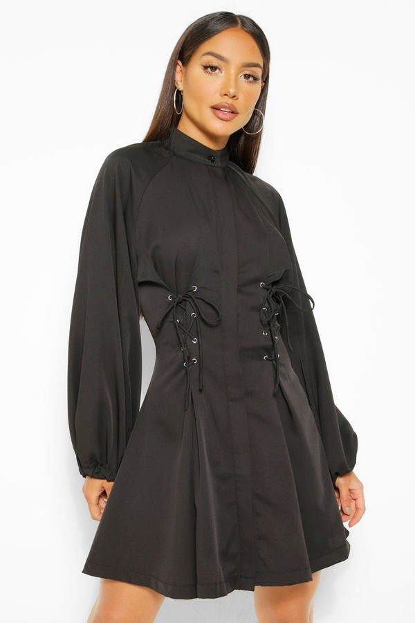 boohoo High Neck Lace Up Skater Dress