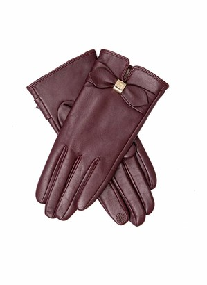 Dents Lottie Women's Touchscreen Leather Gloves with Bow Detail CLARET L
