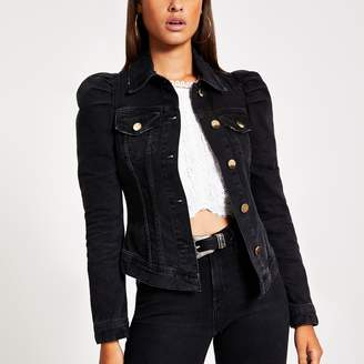 River Island Womens Black puff sleeve denim jacket