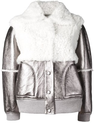 See by Chloe Metallic Shearling Bomber Jacket