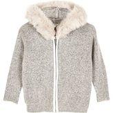 River Island Mini girls grey furry sweater with faux fur
