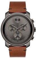 Movado Men's 'Bold' Chronograph Leather Strap Watch, 44Mm