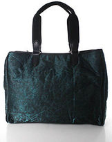 Sondra Roberts Green Black Leather Trim Structured Rectangular Large Tote Bag