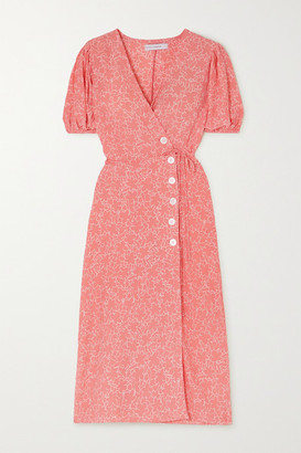 Faithfull The Brand Fran Floral-print Crepe Midi Wrap Dress - Bright pink