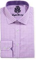 English Laundry Windowpane-Check Cotton Dress Shirt, Purple