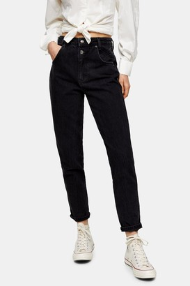 Topshop Washed Black Double Button Mom Tapered Jeans