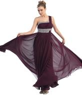 May Queen - One Shoulder Strap Empire Waist Chiffon Long Gown MQ748B
