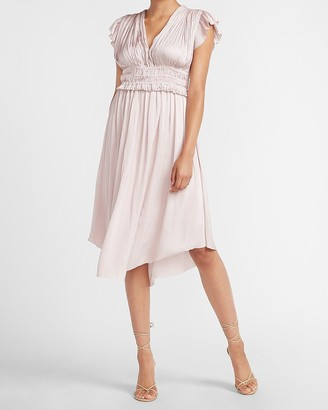 Express Satin Short Sleeve Pleated Midi Dress