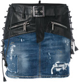 DSQUARED2 lace-up detail mixed denim skirt - women - Calf Leather/Polyester/Cotton/Spandex/Elastane - 38