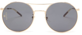 Gucci Round Aviator Metal Sunglasses - Grey