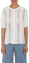 Masscob Women's Cotton Crochet & Ruffle Blouse