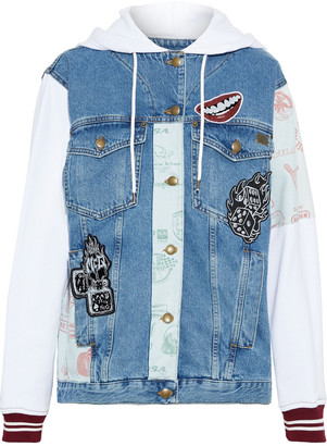 McQ Appliqued French Cotton Terry-paneled Denim Hooded Jacket