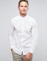 Selected Long Sleeve Smart Shirt with Button Down Collar with Allover Print