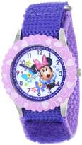 Disney Kids' W001021 Minnie Time Teacher Stainless Steel Watch with Purple Nylon Band