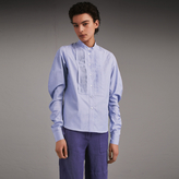 Burberry Pintuck Bib Stretch Cotton Shirt