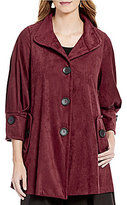 IC Collection Faux-Suede Button-Front 3/4 Sleeve Jacket