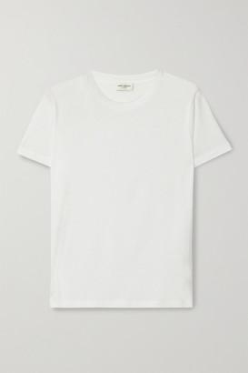 Saint Laurent Essentials Appliqued Cotton-jersey T-shirt - White