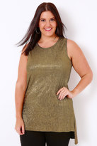 Yours Clothing Gold Plisse Longline Sleeveless Top With Stepped Hem