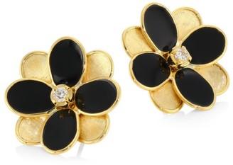 Marco Bicego Petali 18K Yellow Gold & Diamond Floral Stud Earrings