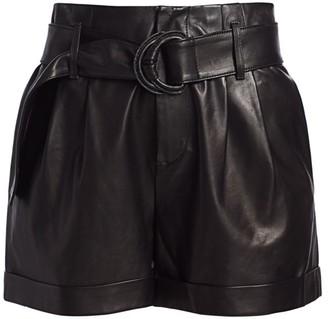 Frame Paperbag Belted Leather Shorts