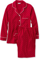 L.L. Bean Pima Cotton Flannel Sleepwear Pajama Set, Dot