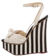 Charlotte Olympia Canvas Platform Wedge Sandals