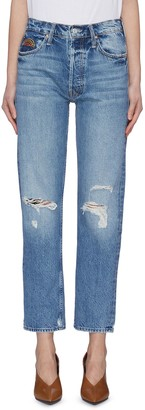 Mother 'The Tomcat HR' colour topstitching pocket ripped knee jeans