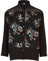 River Island Girls black floral print shirt