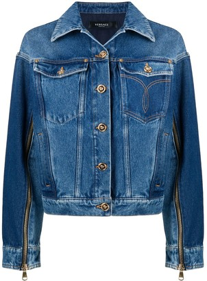 Versace Zipper Detailed Denim Jacket